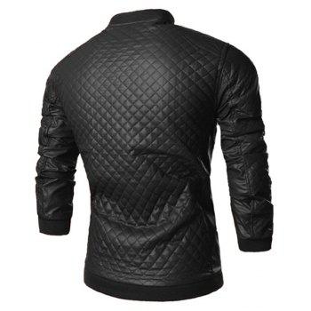 Trendy Checked Design Rib Splicing Stand Collar Long Sleeve Slimming PU Leather Men's Jacket - BLACK BLACK