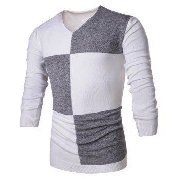 Trendy Color Block Splicing V-Neck Long Sleeve Slimming Polyester Men's Sweater