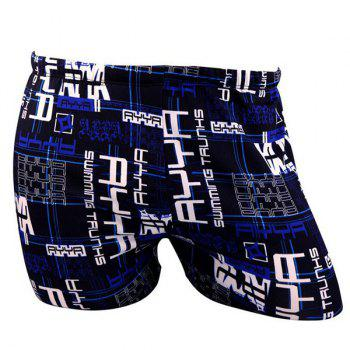 Stylish Lace-Up Color Block Letter and Checked Print Men's Polyester+Spandex Boxers Swimming Trunks - BLUE BLUE