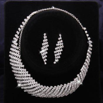 A Suit of Trendy Rhinestone Embellished Necklace And Earrings