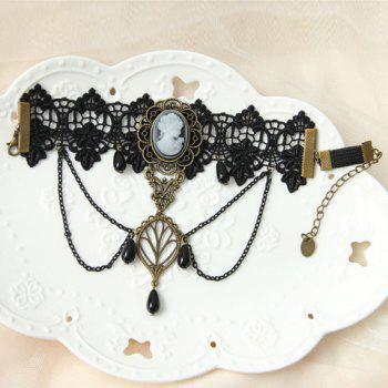 Trendy Retro Style Faux Black Pearl and Lace Decorated Hollow Out Women's Body Jewelry -  BLACK