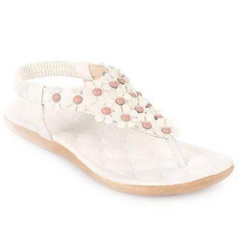 Buy Gorgeous Elastic Flowers Design Sandals Women WHITE