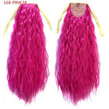 Impressive Rose Red Long Yaki Straight Fluffy Women's Drawstring Ponytail Hair Extension - ROSE MADDER ROSE MADDER