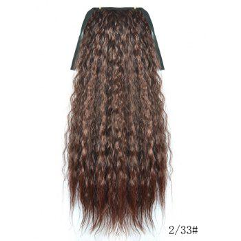 Heat Resistant Fluffy Dark Brown Long Yaki Straight Women's Drawstring Ponytail Hair Extension