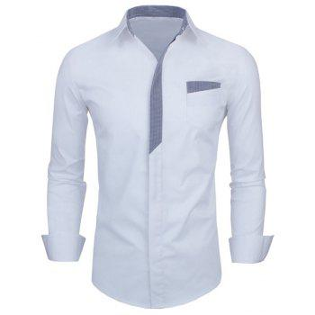 Personality Color Block Button Fly Slimming Turn-down Collar Long Sleeves Men's Shirt