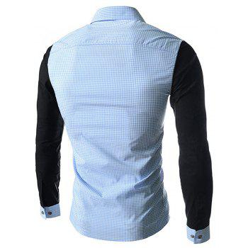 Concise Slimming Checked Splicing Turn-down Collar Color Block Long Sleeves Men's Shirt - M M