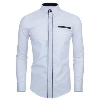 Slimming Color Block Button Fly Fake Pocket Turn-down Collar Long Sleeves Men's Shirt
