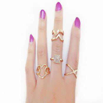 4PCS Heart Design Rhinestone Openwork Rings