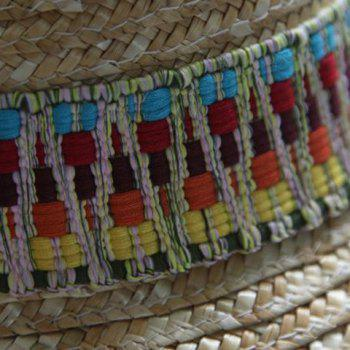 Chic Ethnic Pattern Design Color Block Women's Straw Hat - AS THE PICTURE