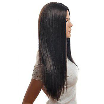 Centre Parting Stylish Natural Black Long Straight Charming Synthetic Women's Capless Wig -  BLACK