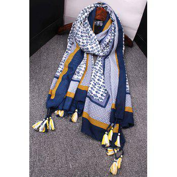 Ethnic Style Porcelain Flower Pattern Color Block Tassel Women's Gauze Scarf