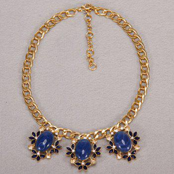 Luxury Faux Gem Decorated Egg and Floral Shape Women's Necklace