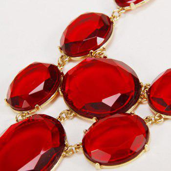 Faux Gem Decorated Geometric Pendant Necklace - RED