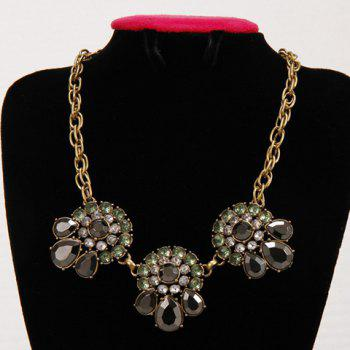 Elegant Faux Gem Decorated Floral Women's Necklace