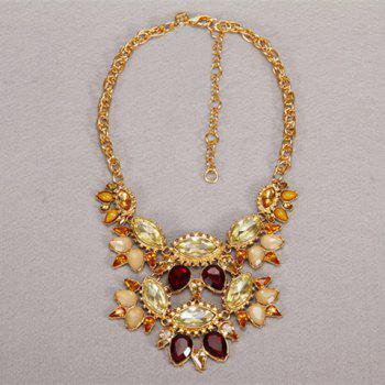 Faux Gem Decorated Double Layered Necklace