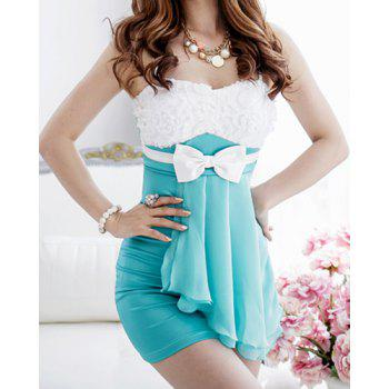 Sexy Spaghetti Strap Sleeveless Spliced Bowknot Embellished Women's Dress - GREEN GREEN