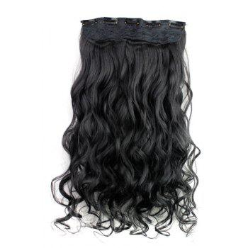 Trendy Heat Resistant Synthetic Clip-In Jet Black Long Curly Women's Hair Extension -
