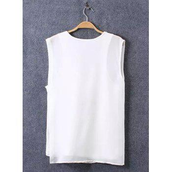 Stylish Sleeveless V-Neck Irregular Faux Twinset Women's T-Shirt - L L