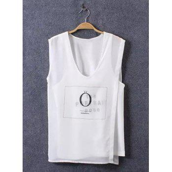 Stylish Sleeveless V-Neck Irregular Faux Twinset Women's T-Shirt - WHITE L