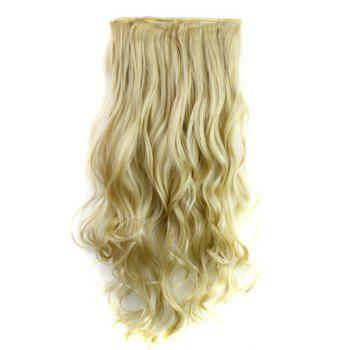 Trendy Heat Resistant Synthetic Clip-In Light Blonde Long Curly Women's Hair Extension - LIGHT GOLD LIGHT GOLD