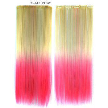 Soft Long Straight Rice White Gradient Pink Heat Resistant Chic Women's Clip-In Hair Extension
