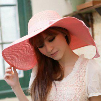 Chic Bowknot Lace-Up Embellished Wide Brim Women's Straw Hat - RANDOM COLOR