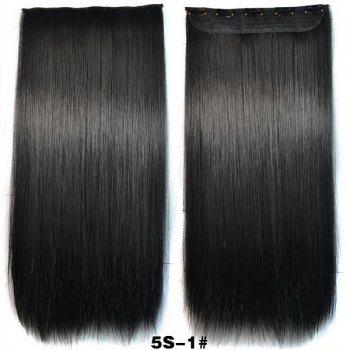 Trendy Long Straight Clip-In Heat Resistant Synthetic Jet Black Women's Hair Extension