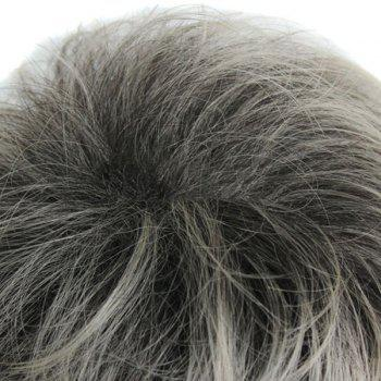Outstanding Fluffy Full Bang Black BT Grey Straight Kanekalon Tilt Women's Short Wig -  COLORMIX