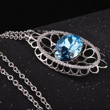 Rhinestone Embellished Hollow Out Pendant Necklace - SILVER