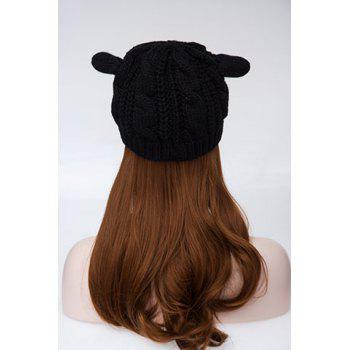 Chic Style Cat Ears Shape Design Hemp Flowers Hat For Women - ONE SIZE ONE SIZE
