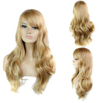 Side Bang Stylish Blonde Brown Mixed Long Big Wavy Noble Synthetic Women's Capless Wig - COLORMIX COLORMIX