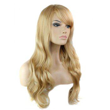 Side Bang Stylish Blonde Brown Mixed Long Big Wavy Noble Synthetic Women's Capless Wig -  COLORMIX