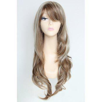 Faddish Mixed Color Fluffy Kanekalon Women's Wavy Bouncy Long Wig With Face Side Bang