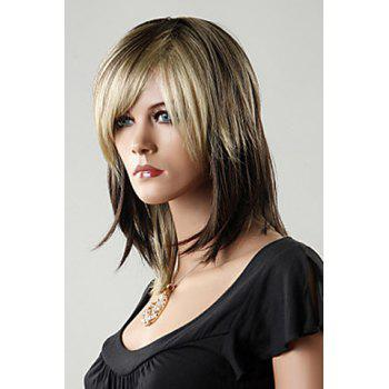 Side Bang Stylish Mixed Color Medium Straight Charming Synthetic Women's Capless Wig - COLORMIX