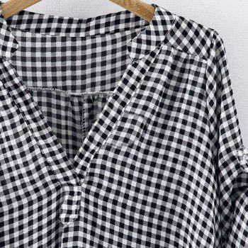Casual Stand-Up Collar Short Sleeve Loose-Fitting Plaid Women's Blouse - WHITE/BLACK 2XL