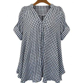 Casual Stand-Up Collar Short Sleeve Loose-Fitting Plaid Women's Blouse