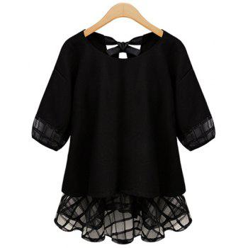 Stylish Scoop Collar Half Sleeve See-Through Spliced Women's Blouse