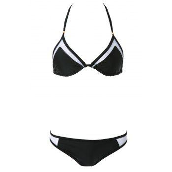 Sexy Style Solid Color Voile Splicing Tie-Up Divided Type Swimwear For Women - BLACK S