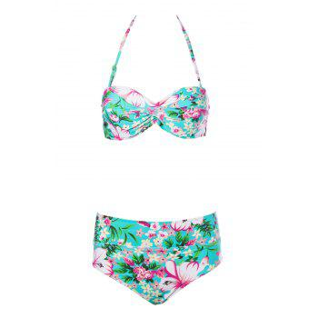Sexy Style Floral Print Bikini Set For Women - COLORMIX S