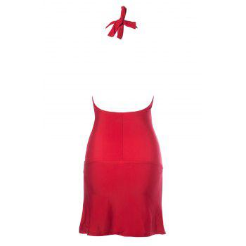 Maillots de bain élégantes Solid Color halterneck One-Piece femmes - Rouge 2XL