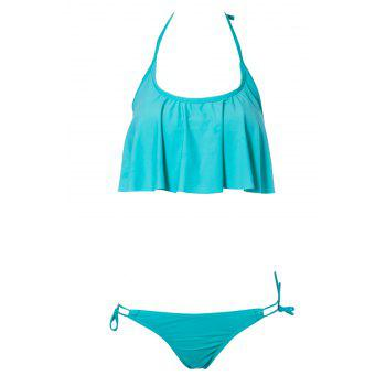 Sexy Halter Solid Color Ruffles Splicing Women's Bikini Set - GREEN S