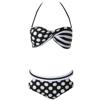 Sexy Halter Polka Dot Lace-Up Women's Bikini Set - WHITE M