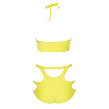 Sexy Spaghetti Straps Solid Color Hollow Women's Bikini Set - L L