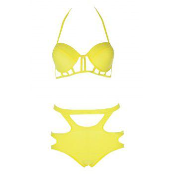Sexy Spaghetti Straps Solid Color Hollow Women's Bikini Set - YELLOW L