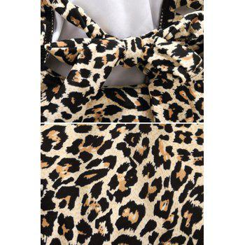 Sexy Style Tie-Up Leopard Pattern Openwork One-Piece Swimwear For Women - XL XL