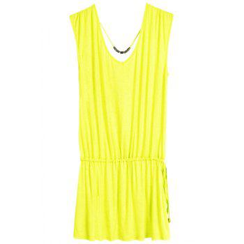 Simple Style V-Neck Sleeveless Solid Color Elastic Waisted Women's Dress