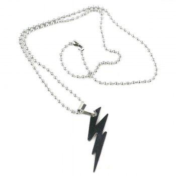 Stainless Steel Thunder Pattern Style Pendant Titanium Steel Necklace Unisex Jewelry