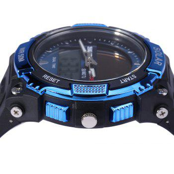 Skmei 1049 Solar Power Army LED Watch Date Week Dual-movt 5ATM Water Resistant Military Wristwatch for Sports - BLUE