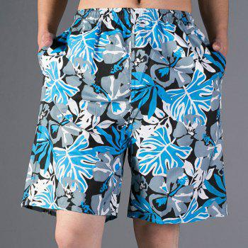 Fashion Leaf Print Loose Fit Straight Leg Men's Polyester Beach Shorts - BLUE BLUE