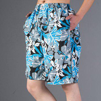 Fashion Leaf Print Loose Fit Straight Leg Men's Polyester Beach Shorts - BLUE 2XL